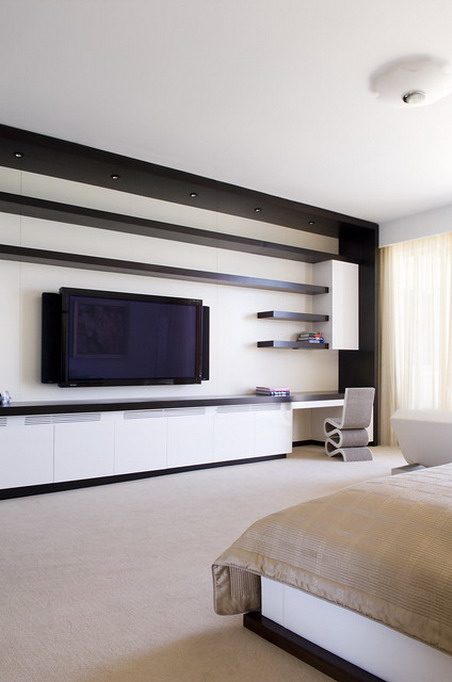 white curtains and modern wall tv units in modern bedroom design ideas