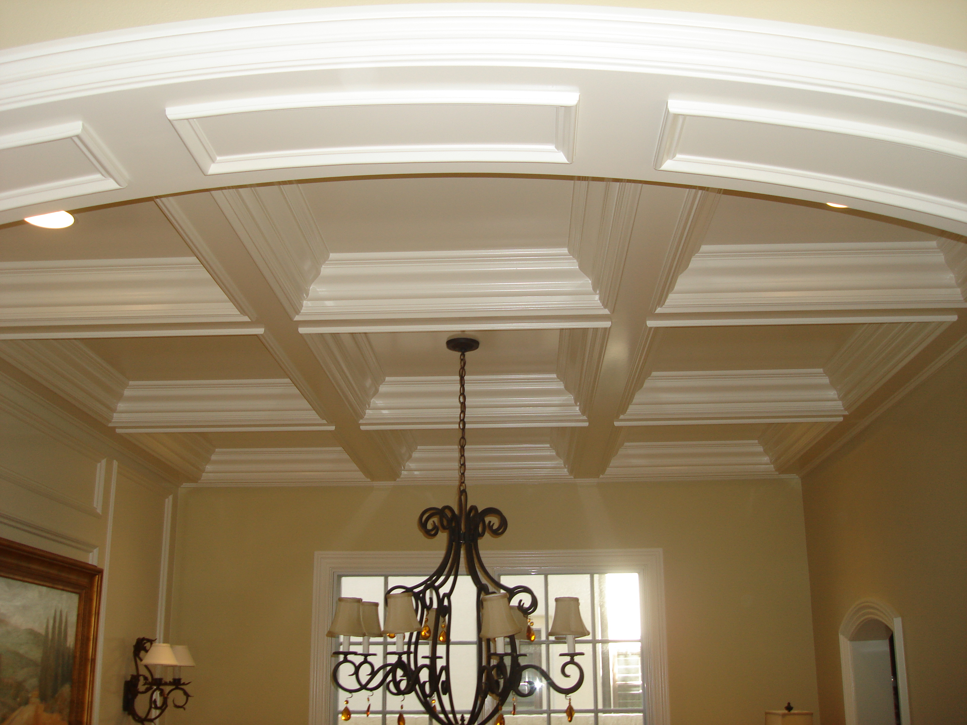South florida crown molding intallation alliance woodworking for Foam coffered ceiling